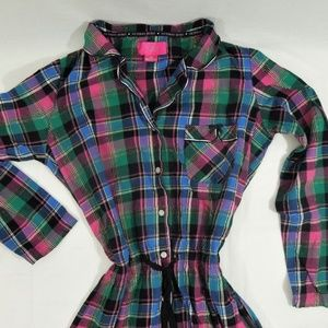 Victoria's Secret Flannel Pajamas Plaid Romper  M